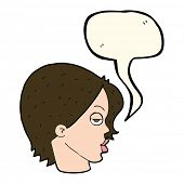picture of eyebrows  - cartoon woman raising eyebrow with speech bubble - JPG