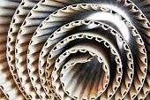 pic of recycled paper  - Close up shot of corrugated paper rolls - JPG