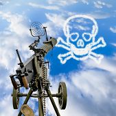 picture of maxim  - Maxim machine gun is pointed in a blue sky with a skull and bones in the clouds - JPG