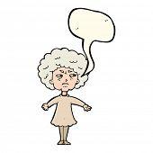 stock photo of bitters  - cartoon bitter old woman with speech bubble - JPG