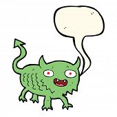 stock photo of demons  - cartoon little demon with speech bubble - JPG