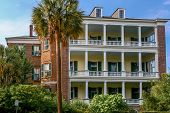 picture of mansion  - Beautiful full view of a Charleston Mansion in the Battery district - JPG