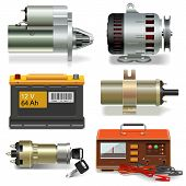 stock photo of generator  - Electric Car Parts Icons including starter - JPG