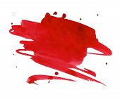 stock photo of vivid  - Vivid red watercolor or ink stain with aquarelle paint blotch - JPG