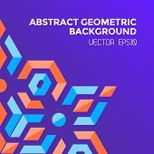 stock photo of asymmetric  - vector asymmetric colorful abstract geometric blue orange red jewels violet background - JPG