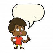 stock photo of attitude boy  - cartoon boy giving thumbs up with speech bubble - JPG