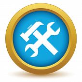 stock photo of rework  - Gold repair icon on a white background - JPG