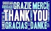 stock photo of thankful  - Thank You international word cloud on a blue background - JPG