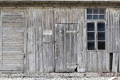 pic of wooden shack  - An old weathered wooden shack on a farmyard in North of Berlin the German capital - JPG