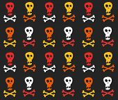 image of skull crossbones flag  - Seamless pattern with skull and crossbones vector background - JPG