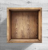 stock photo of wood craft  - Old wooden box on white wood floor - JPG
