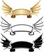picture of bat wings  - ribbon banner with bat wings sticking out on the sides - JPG