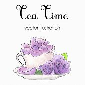 picture of shabby chic  - Vector  illustration of violet roses in a cup made in watercolor and ink in shabby chic style - JPG