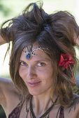 pic of hippy  - Portrait beautiful hippie girl in nature in Bali Indonesia - JPG