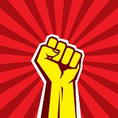 Hand Up Proletarian Revolution - Vector Illustration Concept in Soviet Union Agitation Style. poster