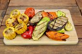 image of sweet-corn  - Grilled Vegetables On The Wood Cutting Board - JPG