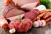 foto of slaughterhouse  - Assorted meat products including ham and sausages - JPG
