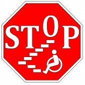 stock photo of physically handicapped  - Concept sign to guarantee accessibility and barrier free environment for people with impairments - JPG