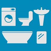 stock photo of bathroom sink  - Five icons typical to the bathroom - JPG