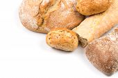 foto of bread rolls  - Composition with bread buns and rolls isolated on white background - JPG
