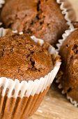 foto of chocolate fudge  - Closeup take of some homemade chocolate muffins - JPG