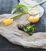 picture of curd  - Lemon curd in a jar with bunch of fresh mint on rustic grunge dark surface - JPG