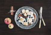 foto of maple syrup  - Breakfast set on dark wooden desk - JPG