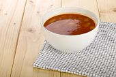 stock photo of vegetable soup  - Homemade vegetable soup in a soup bowl - JPG