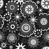 image of grayscale  - Abstract seamless pattern composed of gears in grayscale - JPG