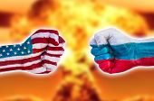 picture of nuclear bomb  - Demonstration of the power of a strong fist Usa versus Russia with nuclear explosion - JPG