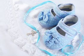 foto of christening  - Baby shoe and cross for Christening - JPG