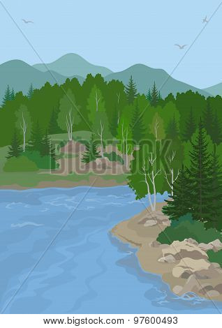 Landscape with Trees and Mountain Lake