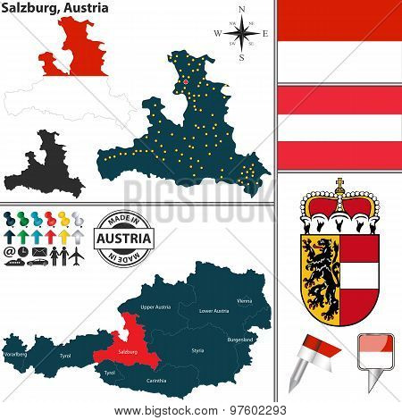 Map Of Salzburg, Austria