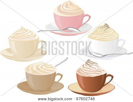 Vector set of coffee cups with whipped cream.