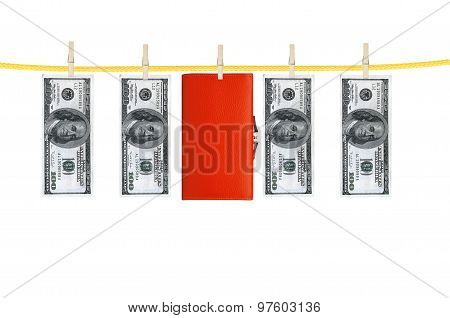 Money And Purse Laundering And Dry After Wash Hang On Clothespins Isolated On White
