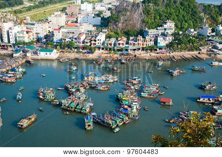 Cai Rong port from high view in Halong bay