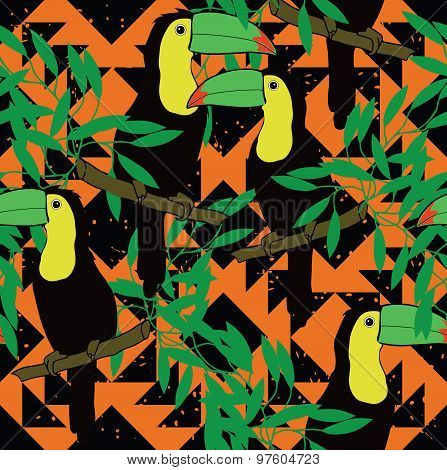 Seamless pattern with toucans and ethnic ornament. Vector.