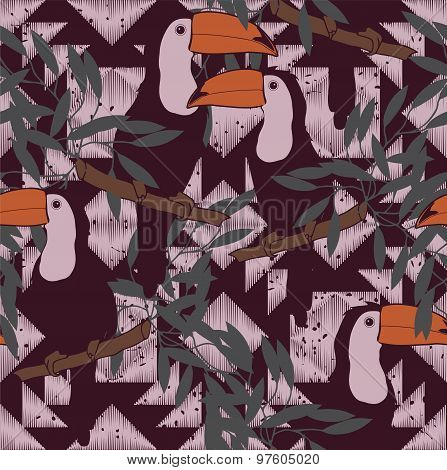 Seamless pattern with toucans and ethnic ornament. Vector. Vintage style.