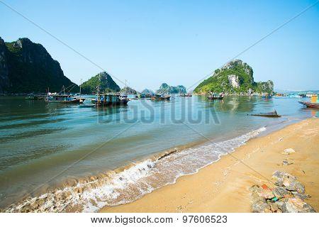 Beautiful beach in Halong bay, Vietnam