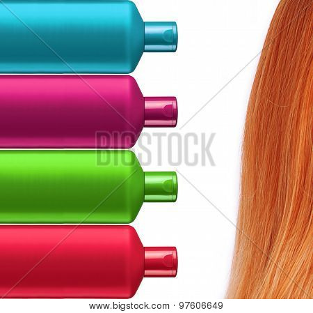 Plastic Colorful Bottles Shampoo And Red Hair Isolated On White