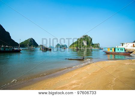 Beautiful beach in Halong bay, Vietnam