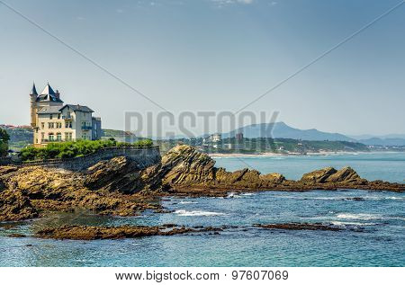 Villa Belsa and the coast, Biarritz.