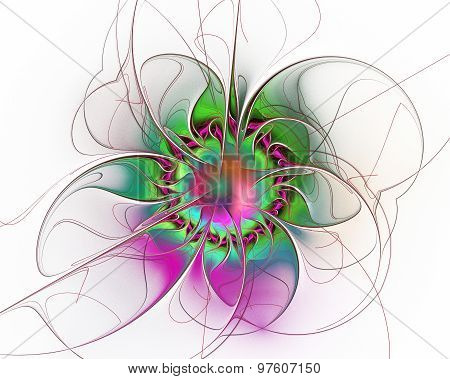 Abstract Fractal Design. Surreal Flower On White.