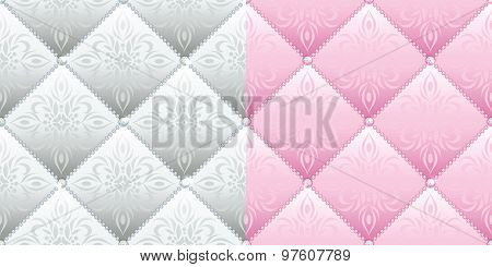 Set of 2 satin quilted seamless texture
