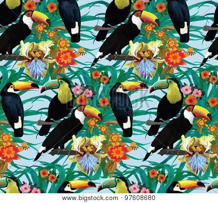 Seamless pattern with toucans and flowers. Hand drawn vector.