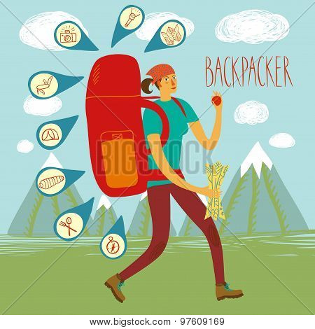 Backpacker Illustration