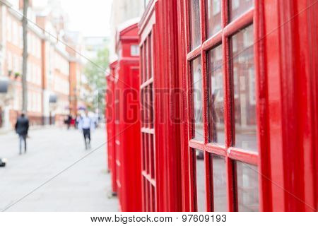 Red Telephone Boxes And Copy Space