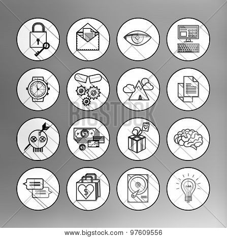 universal modern thin line icons for web and mobile app,