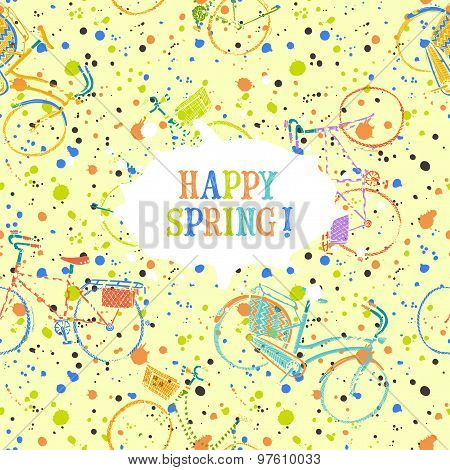 Colorful Spring Bicycles Pattern With Frame