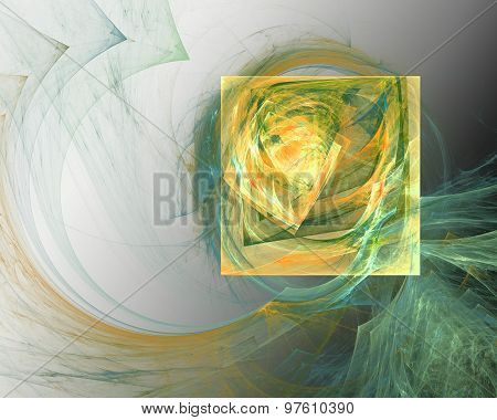 Abstract Fractal Design.  Yellow Square And Green Bends